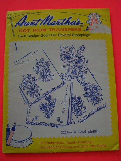 Aunt Marthas Hot Iron Transfers 3254 Floral Motifs Patterns 1 Penny Shipping