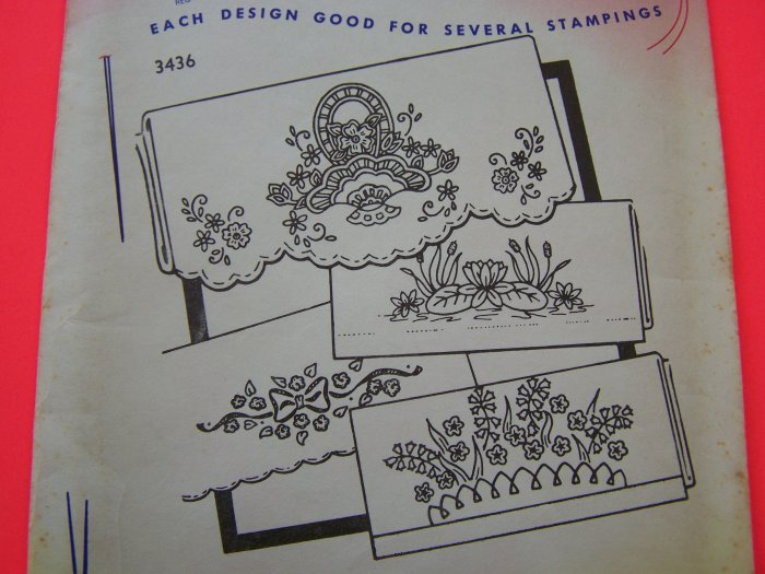 Aunt Marthas Hot Iron Transfer Pattern 3436 Flowers Basket Lilypad Borders Penny Shipping