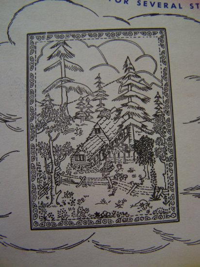 Vintage Aunt Marthas Transfer Pattern 3705 Mountain Scene Wilderness Cabin Wall Hanging
