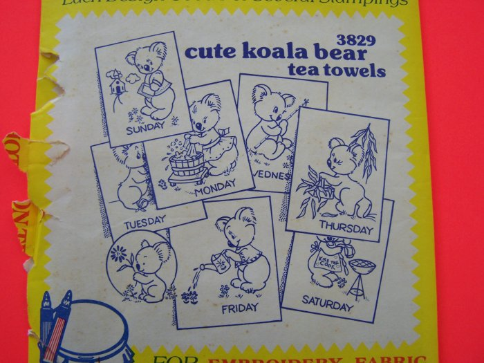Vintage Aunt Marthas Hot Iron Transfer Pattern 3829 Koala Bear Days of The Week 1 Penny Ship
