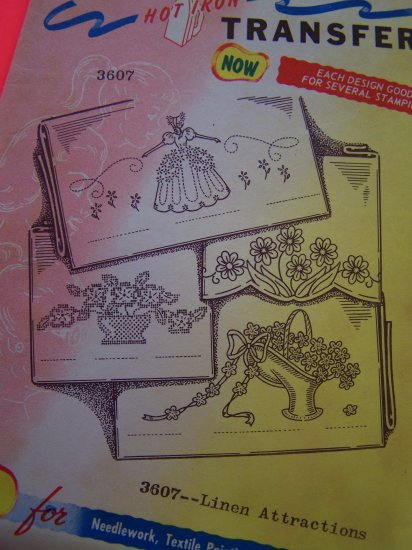 Vintage Aunt Marthas Hot Iron Transfers 3607 Colonial Girl Flowers Penny Shipping