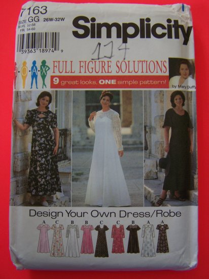 New Plus Size Evening Gown Flutter Sleeve Dress 26w 28w 30w 32w Sewing Pattern 7163