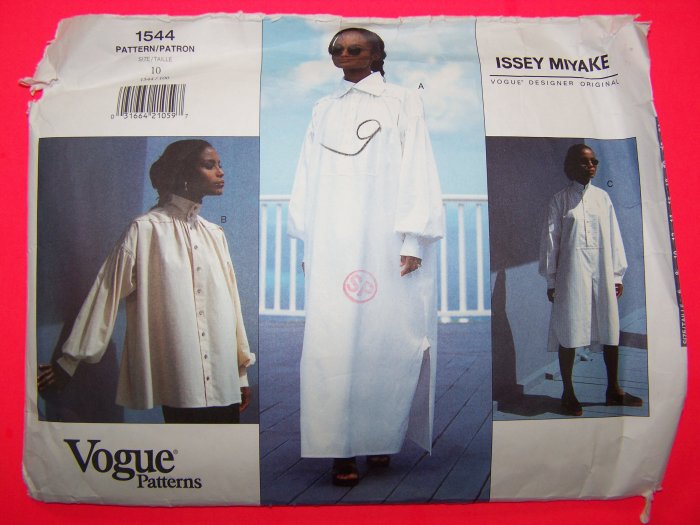 1990s Issey Miyake Dress Blouse Tunic Top Vogue Sz 10 Sewing Pattern 1544
