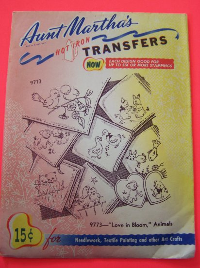 Aunt Martha's Iron On Transfers 9773 Love In Bloom Animals Fish Birds Cats Dog +
