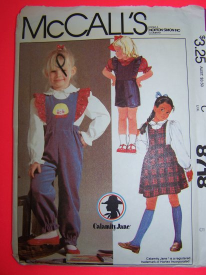 Girls 5 Vintage Sewing Pattern Ruffle Bib Jumper Dress Overall Pants Shorts Blouse 8718