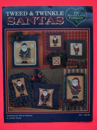 Tweed & Twinkle Santas Needlecraft Chart Patterns Primitive Country Santa USA 1 Penny S&H