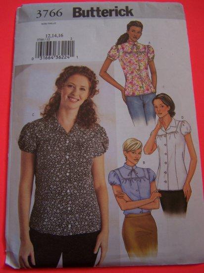 Butterick Sewing Pattern 3766 Misses Blouse Sz 12 14 16 Shirt $1 USA Shipping