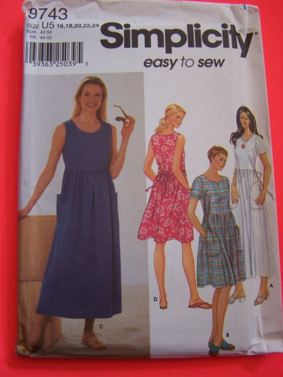 Misses Easy Sundress Tie Back Dress 2 Lengths Sewing Pattern 9743 Sz 16 18 20 22 24