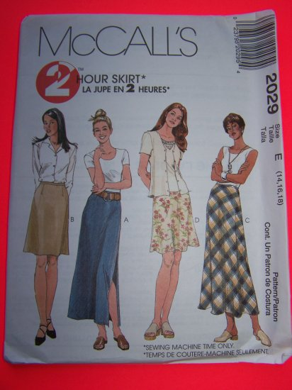 McCalls 2 Hour Sewing Pattern 2029 Skirts Bias A Line Side Slit Short or Long 14 16 18