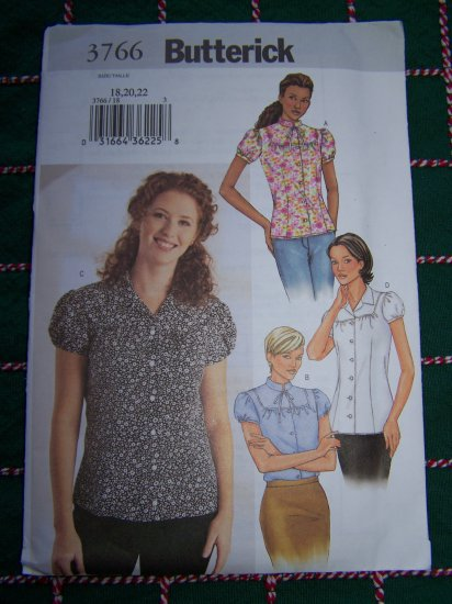 Misses Plus Size 18 20 22 Loose Shirt Set of Tops Sewing Pattern 3766