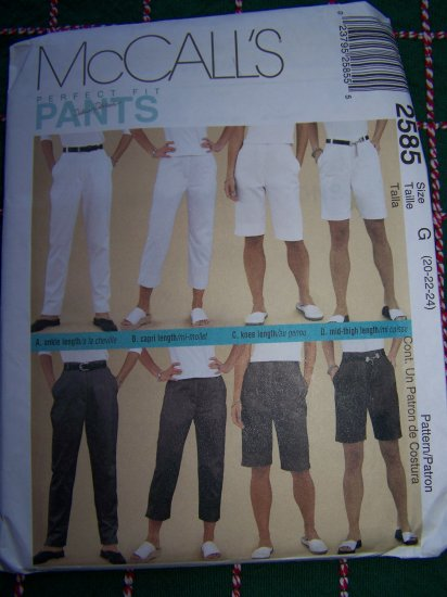 Plus Size 20 22 24 Sewing Pattern 4 Length Pants Shorts Capris 2585