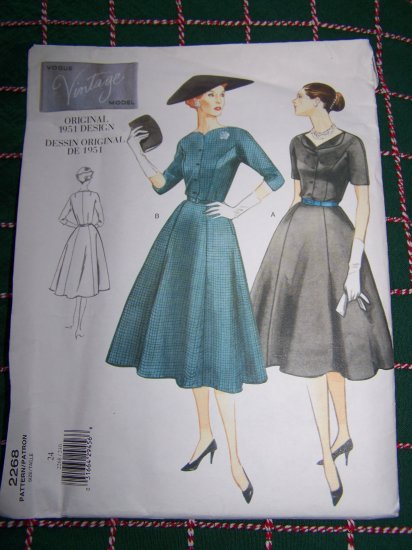 Plus Size 24 Vogue Vintage 1950s Original Design Princess Seam Dress 2268