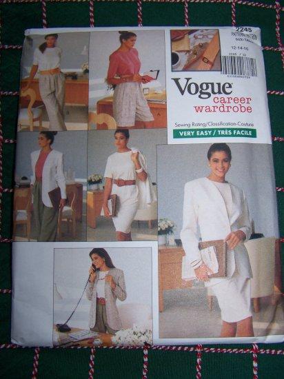 Uncut Vintage Vogue Sewing Pattern 2245 Sizes 18 20 22 Jacket Dress Top Shorts Pants