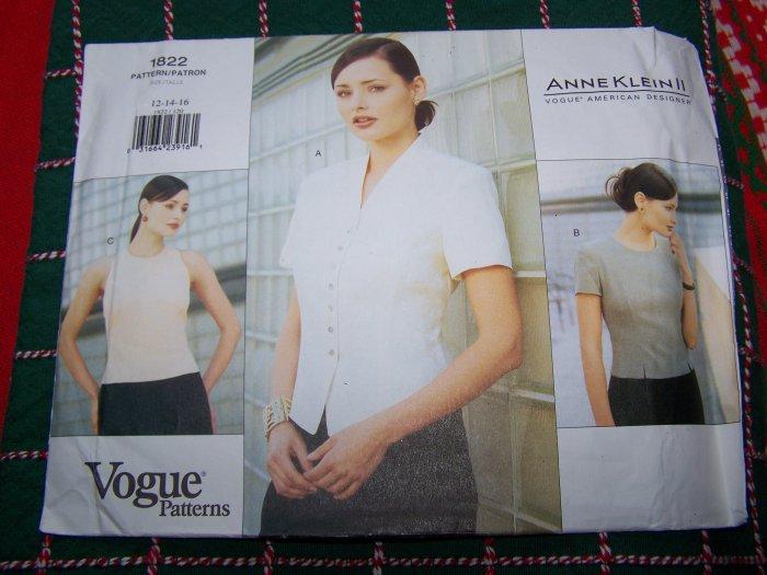 Vogue American Designer Anne Klein Dress Blouse 12 14 16 Shirt # 1822 USA 1 C S&H