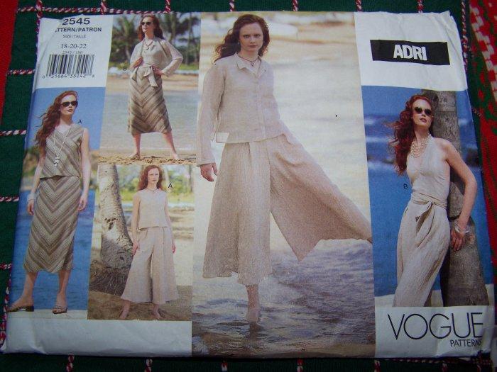 Uncut Adri Vogue Sewing Pattern 2545 Jacket Top Skirt Culottes Gauchos 18 20 22