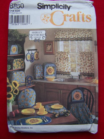 Kitchen accessories Cafe Curtains Appliance Covers Pot Holders Apron Simplicity Sewing Pattern 8880