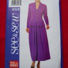 1990s Princess Seam Jacket Style Top Flared Skirt Suit 14 16 18 Sewing Pattern 6319