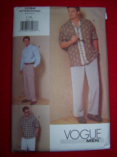 Mens Vogue Sewing Pattern 7094 Shirt Pants Shorts L XL USA $1 Ship