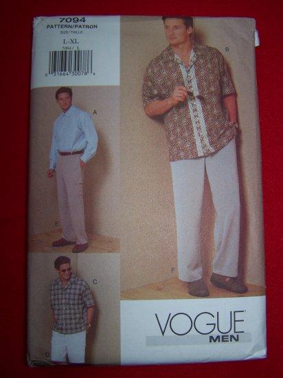 Mens Vogue Sewing Pattern 7094 Shirt Pants Shorts L XL USA $1 Ship