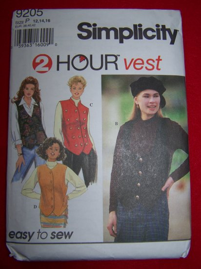 Misses 12 14 16 Set of  Vests V Scoop High Neck Mandarin Collar Sewing Pattern 9205