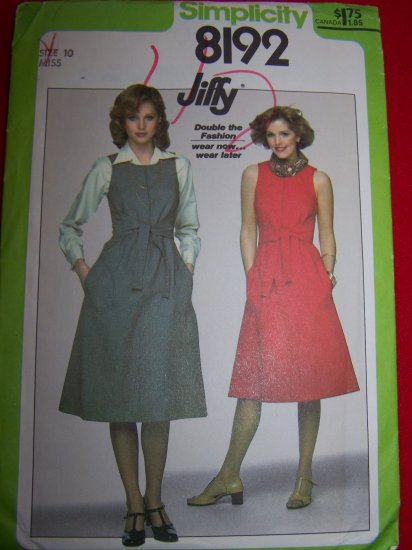 1970s Vintage Sewing Pattern Simplicity 8192 Jumper or Dress Sz 10 USA 1 Dollar Shipping