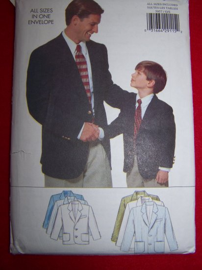 Butterick Father Son Suit Jacket Sewing Pattern 5957 Mens S M L XL Boys 2 3 4 5 6 7 8