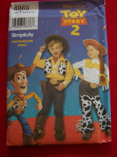 Disney Toy Story 2 Girls Boys Costume Pattern 4869 Woody Jessie 3 4 5 6 7 8 USA $1 S&H