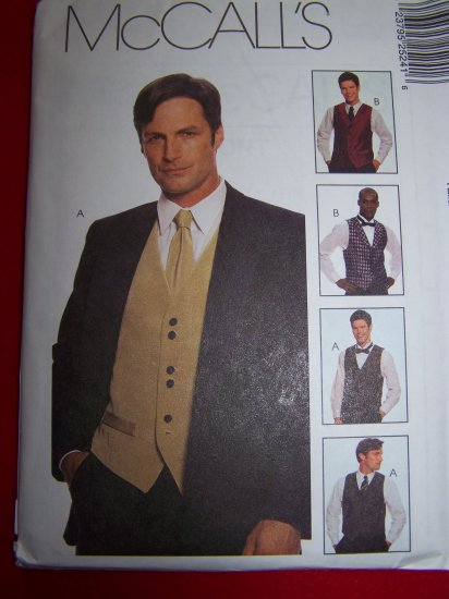 Mens Lined Vest Tie or Bow Tie S M L Sewing Pattern McCalls 2524