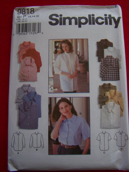 Misses Set of Shirts Sz 12 14 16 Sewing Pattern 9818 USA 1 Dollar Shipping