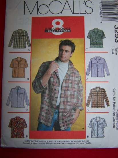 Mens Shirt Straight Hem Side Vents Camp Shirts S M L Sewing Pattern 3293 USA $1 S&H