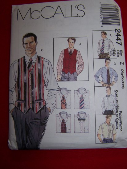 Mens XL XXL XXXL Lined Vests Shirt Ties Bow Tie McCalls Sewing Pattern 2447