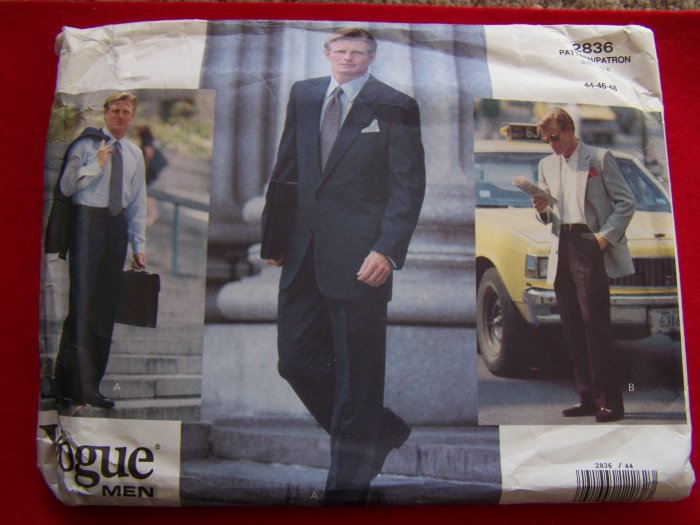1990s Vogue Men Sewing Pattern 2836 Suit Jacket Straight Leg Pants 44 46 48