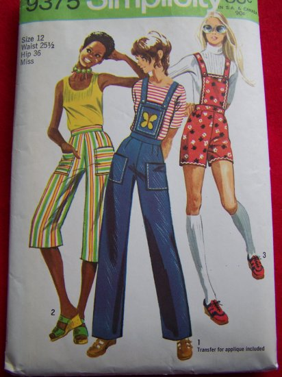 Vintage Hippie Hot Pants Shorts Gaucho with Detachable Bib Sewing Pattern 9375 US $1 SHip