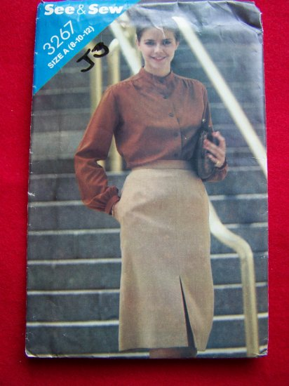 Vintage Straight Skirt Front Hem Slit 8 10 12 Sewing Pattern 3267 USA 1 Penny Ship