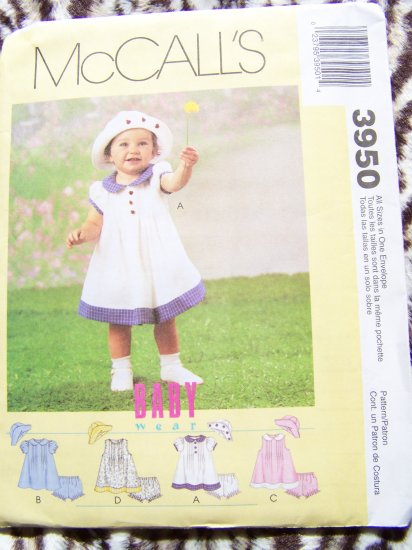 Infants 13 - 24 lbs McCalls Sewing Pattern 3950 Easter A Line Dress Panties Hat USA $1 Shipping