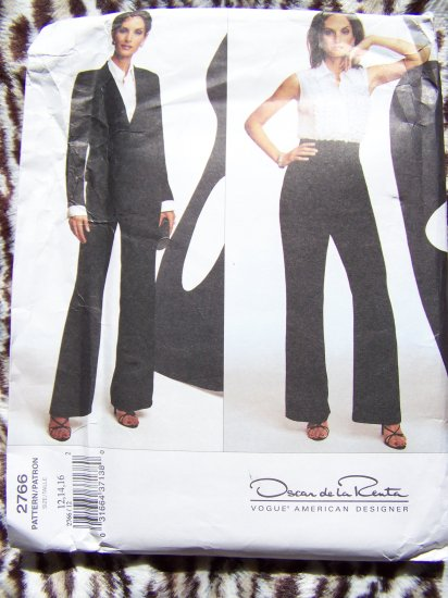 Vogue american Designer Misses Suit Tuxedo Ruffle Top Sewing Pattern 2766 Clearance Patterns Sale