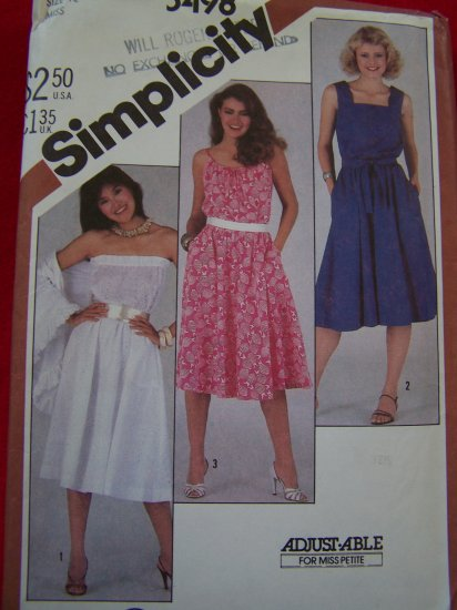 Vintage Sewing Pattern Flared Skirt Sundress or Strapless Dress 5498 Patterns Sale