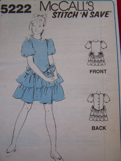 Girls Dress Sewing Pattern Dropped Waist Puff Sleeves Bows 7 8 10 # 5222 USA $1 Shipping Sale
