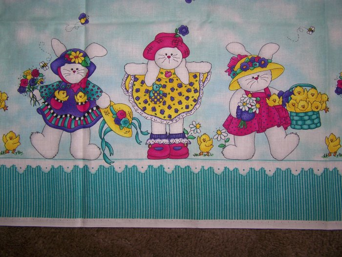 Jelly Bean Junction Cotton Fabric Hoppy Spring Border Easter Bunny Chicks