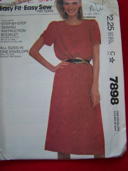 Vintage 80's Sewing Pattern 7898 Slim Pullover Dress Tulip Sleeves 6 - 20 USA $1 Shipping