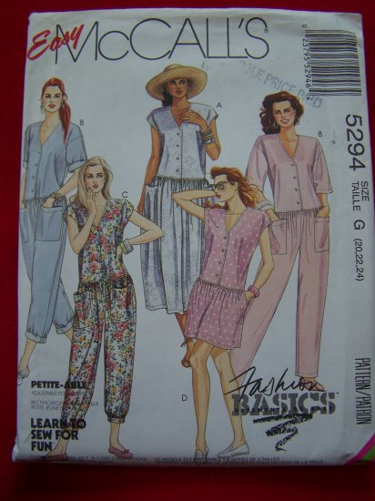 McCalls Sewing Pattern 5294 Jumpsuit 3 Lengths Drop Waist Plus Size 20 22 24 USA $1 S&H