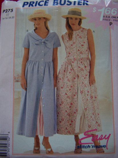 Misses Princess Seamed Button up Dress Ruffle Petticoat Sewing Pattern P275
