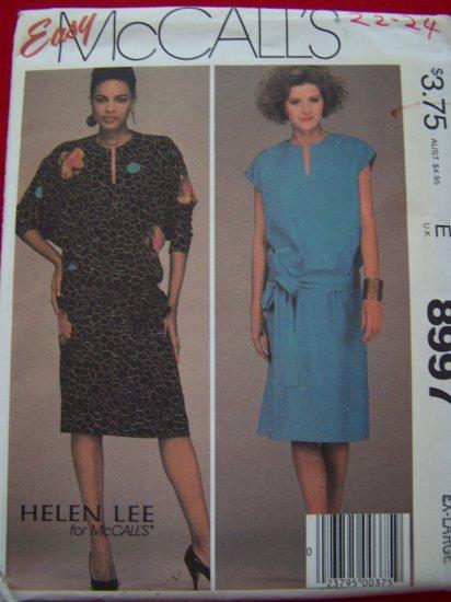 Plus Size 22 24 Vintage Sewing Pattern XL Pullover Dress Belt Appliques Helen Lee McCalls