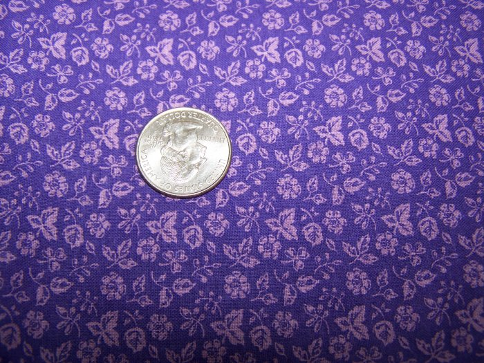 Vintage Textile Arts & Film Cotton Sew Fabric Purple Floral Design Sewing Material