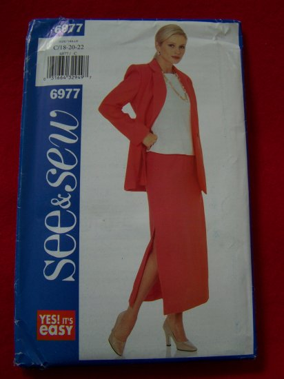 Plus Size Sewing Pattern Jacket Pullover Top Straight Ankle SKirt 18 20 22 # 6977