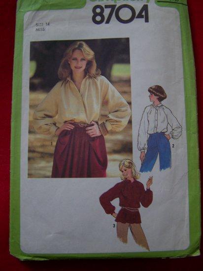 Vintage Sewing Pattern Sale 8704 Long Raglan Sleeve Shirt B36