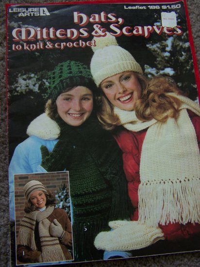 Vintage Knitted Crocheted Hats Mittens Scarves Pattern 7 Knitting Crochet Patterns