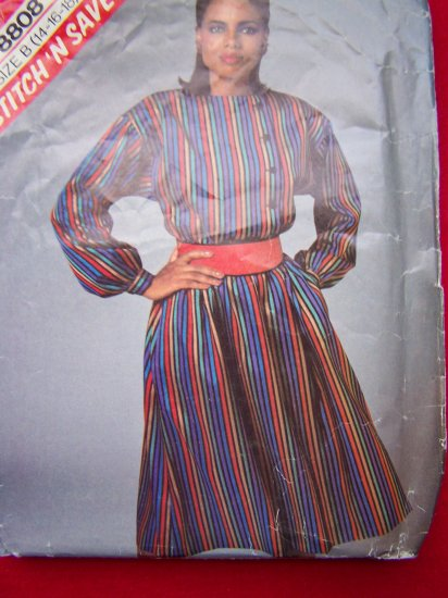 Vintage Sewing Pattern 8808 Pullover Flared Skirt Dress Off Center Button up 14 16 18
