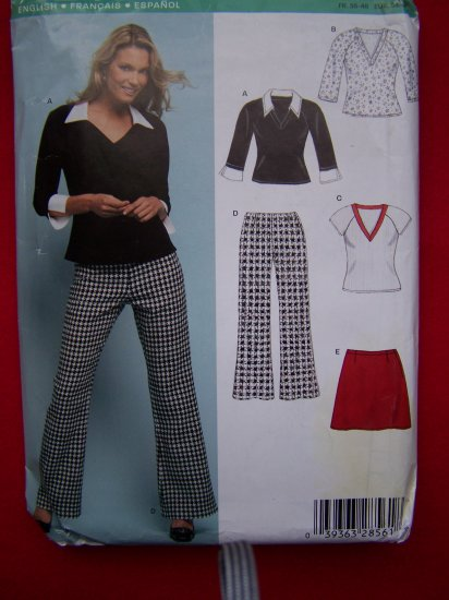 New Look Sewing Pattern 6415 Misses Top Mini Skirt Flare Leg Pants 8 10 12 14 16 18