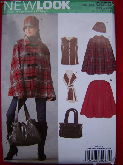 New Look Sewing Pattern 6658 Vest Lined Cape Hat Scarf Purse 8 10 12 14 16 18